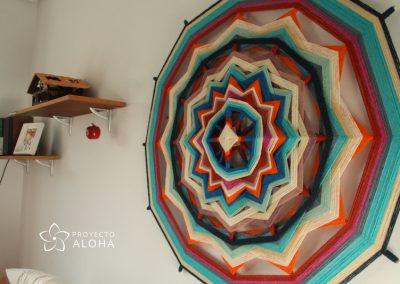 Proyecto Aloha, mandala de lana, ojos de dios, arte sagrado, decoraci´n consciente, sanar espacios